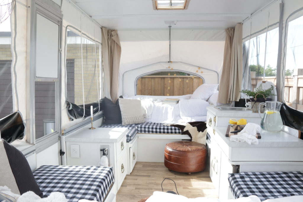white tent trailer makeover glamping